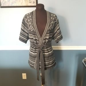 3/$20 short sleeved wrap sweater with belt